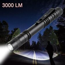CREE Q5 LED Tactical Flashlight 3000 LM Bright Torch Lamp Pen Light With Clip