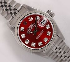 Rolex Ladies Datejust 26mm Stainless Steel 18k Fluted Bezel-Red Diamond Dial