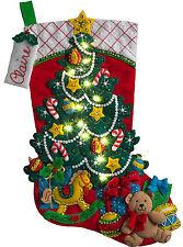 Felt Embroidery Kit ~ Plaid / Bucilla Christmas Tree Suprise Stocking #86710