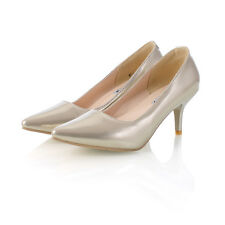 Womens Ladies Patent Leather Mid Heel Pointed Toe Pumps Court Shoes UK 1--8 D461