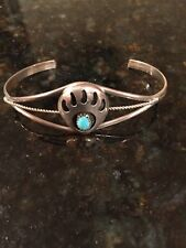 Silver Navajo Cuff Bracelet 6� Native American Bear Claw Turquoise Sterling