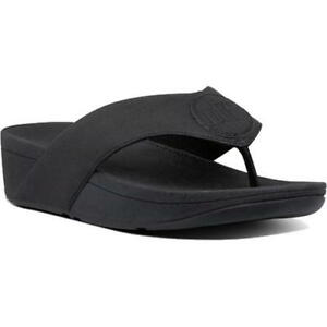 Fitflop Demelza Shimmer Toe Post Womens Ladies Black Flip Flop Sandals Size 4-8