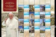 Israel Pope Francis visit Christian Catholic postage Stamp sheet folder limited