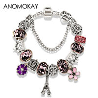 Antique Silver Color Eiffel Tower Pandora Charm Bracelet Crystal Flower Bead