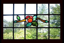 Art Deco English Floral Stained Glass Window