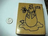 Snowman Birdhouse Wood MTD Stamp With Presents NEW