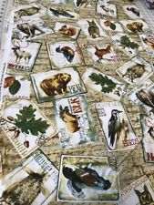 Northwoods Wildlife Postcard Animals quilters cotton Fabric per yd sewing craft