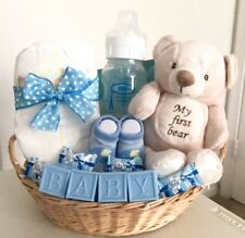 Baby Boy or Girl Shower Decorative Gift Basket Favors Blocks Pampers Bottle