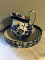 SALE! Rare Antique English Blue Willow Doulton Bowl And Pitcher Set c 1890 SWEET