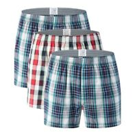 Men Cotton Plaid Underwear Boxer Brief Casual ArrowPants Loose Sleep Shorts Plus