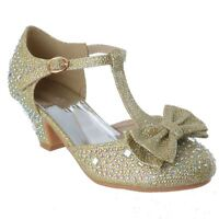 GIRLS KIDS LOW HEEL PARTY DIAMANTE GLITTER MARY JANE T BAR SANDALS SHOES SIZE