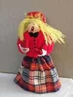 Vintage Paper Mache Blonde Yarn Hair Plaid Outfit Christmas Caroler Doll Girl