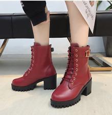 Women Lace Up Punk Ankle Boots Mid Heel Chunky Round Toe Retro Platform Shoes AU