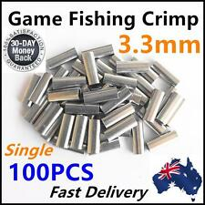 100 X 3.3mm Aluminium Alloy Crimp 18mm Long Game Fishing Tackle Single Marlin