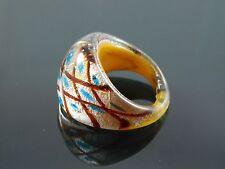 "Murano Glass Silver Foiled Lampwork Handmade Multicolor Ring US 8"""