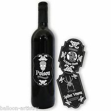 6 Gothic Skull Terror Halloween Poison Party Wine Bottle Paper Stickers Labels