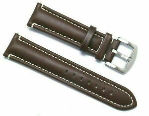 20mm 22mm 24mm Dark Brown Genuine Leather Contrast Stitch Men's Watch Band