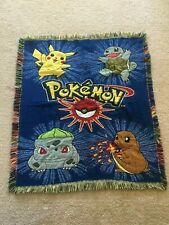 "Vintage Pokemon Tapestry Blanket Throw 44"" x 51"" Pre-Owned"