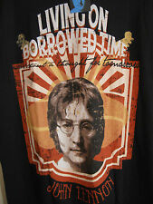 John Lennon Living On Borrowed Time Tshirt Nwt L Black with Large Graphic