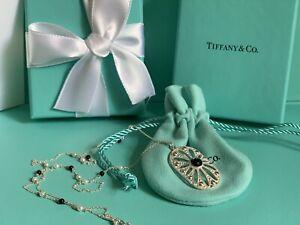 "Tiffany & Co. 925 Silver Ziegfeld Black Onyx Pearl Daisy 24"" Necklace (pouch)"