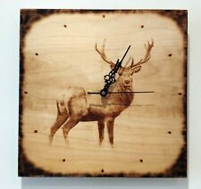 Unique Red Deer Horned Stag Animal Wall Clock Gift Handmade Wood Pyrography Art