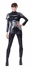 Ladies Womens Futuristic Spy Fancy Dress Costume Black Silver Outfit UK 10-14