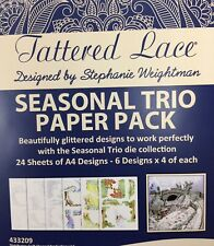 Tattered Lace Saisonale Trio Papier Packung 11 Metall Schablonen + Glitzer Karte