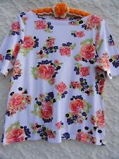 Charter Club Knit Top Misses L Cotton White Rose Green Floral MINT