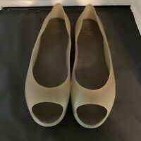 Crocs Carlie Size 9 Open Toe Flat Translucent Green Brown Soles Slip On Shoe