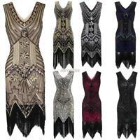 Gatsby Fancy womens Dress 1920s Retro Style Beaded Flapper Sequined Deco Fringe