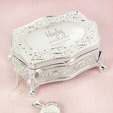 Personalised Antique Silver Small Jewellery Box Birthday Wedding Gift for Her