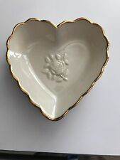 Lenox Heart Candy Dish with Gold Scalloped Trim Detail and Raised Heart