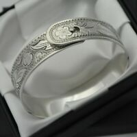 Vintage Heavy & Solid 925 Sterling Silver Floral Design Bangle Bracelet