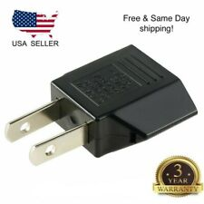 New Euro EU to US USA Power Plug Converter Adapter with Two Holes ABS Black