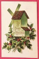 Old Postcard 1911 A Happy Christmas Green Windmill with Holly Berries Antique B2