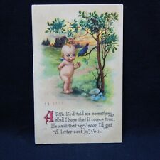 POSTCARD  KEWPIE DOLL WITH A ROBIN POSTMARKED CHICAGO ILL.1915