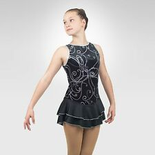 Ice Skating Figure Skating  Dress size XSMALL adult black velvet/silver print
