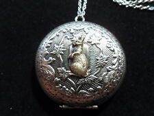 ANTIQUE SILVER BUNNY RABBIT LOCKET  LARGE
