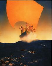 "MAXFIELD PARRISH BOOK PRINT ""CODADAD & HIS BROTHERS"" 6 MEN SAILBOAT GOLDEN SAIL"