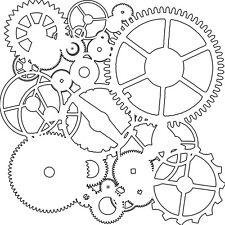 "Pochoir motif  -  ""Mini gears"" - 15X15 cm (6""X6"") - TCW"