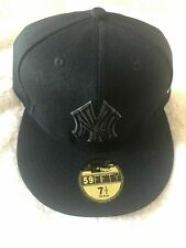 New York Yankees Fitted Hat All Black Mlb Baseball