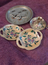 Brass Enamel Painted Plate Candle Holder Snack Dish(2) Lot