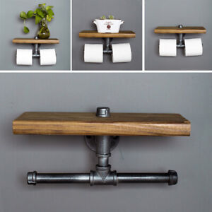 Rustic Dual Toilet Roll Holder Wall Mount Paper Dispenser Floating Storage Shelf