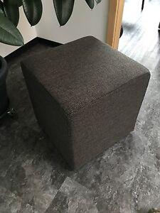 Ottoman Cube Stool Pouf Dice 17 11/16x17 11/16in Outdoor Fabric Dark Grey