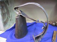 antique MILK COW BELL GOAT HORSE LEATHER neck strap primitive farm VINTAGE STEEL