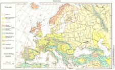 Europe.europa; TEKTONIK. TECTONIC geologiche 1958 vecchio vintage carta piano grafico