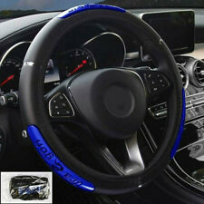 1X Universal Car Steering Wheel Cover Protector Glove Universal Blue PU Leather