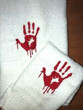 Embroidered Bathroom Hand Towel and Wash Cloth Set H1337 Bloody Handprint