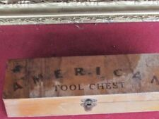 VINTAGE-OLD-WOODEN KIDS AMERICAN TOOL CHEST WITH TOOLS