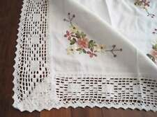 Beautiful Hand Silk Ribbon 3D Flower Embroidery Crochet Lace Table Topper D